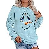 ZS ZHISHANG Cute Snowman Long Sleeve Sweatshirt Face Print Women Casual Top