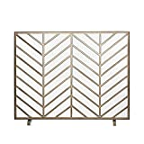 SUBBYE Kleine Einzel-Panel Kamin Bildschirm, Schmiedeeisen Rahmen mit Metallgittern, Indoor Outdoor...