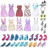 Doherty 30 Stück/Set Puppenkleidung Partykleid Outfits mit Puppenzubehör Schuhe Halsketten Kinder...