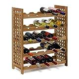 Relaxdays Weinregal Walnuss für 25 Flaschen HxBxT: 73 x 63 x 25 cm Flaschenregal Holz aus...