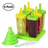TOPELEK Eisformen 6 Eisformen Popsicle Formen Set, 6 Eis Pop Macher, LFGB Geprüft und BPA Frei, mit...