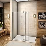 120x200cm Walkin Duschabtrennung 8mm Nano-glas Duschwand Dusche mit 30er Seitenwand