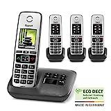 Gigaset Family Quattro mit Anrufbeantworter - 4 schnurlose Telefone mit großem, farbigem Display...
