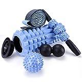 5 in 1 Faszienrolle Foam Roller Fitness Set, Massageroller mit Endkappen, Muskelroller,Doppelte...
