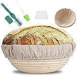 MOOING Gärkörbchen rund, 25 cm Proof Korb für Brot und Teig, Der ideale Gärkorb aus natürlichem...