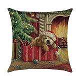 DQANIU Weihnachtsdekoration, Weihnachtskissenbezug Santa Cotton Linen Sofa Car Coffee Shop...