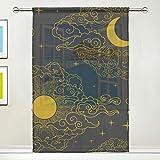 BONIPE Vorhang mit goldfarbenen Sonnen und Mond, aus Voile, Tüll, für Küche, Schlafzimmer,...