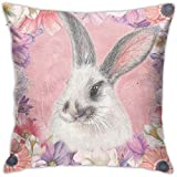 YSamuel Happy Easter Rabbit Bunny mit floralem Dekokissenbezug Dekokissenbezug Square Double Side