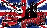Fanshop Lünen Fahne - Flagge - EM 2020 - London - GB - 90x150 cm - Hissfahne mit Ösen - Fußball -...