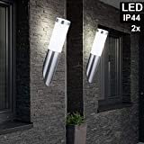 2er Set LED Fackel Wand Lampen Edelstahl Fassaden Haus Tür Beleuchtung Garten Außen Leuchten...