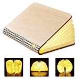 GEEDIAR Groe LED Buch lampe in Buch Form Holzbuch mit 2500 mAh Akku Lithium Nachttischlampe...