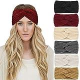 DRESHOW 6 Stück Stirnband Damen Winter Häkeln Stirnbänder Gestrickt Stirnband Kopfband Haarband...