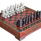 Adanse H?Lzernes Schach Chinesisches Retro Terrakotta Krieger Schach Holz Tun Altes Schnitzendes...