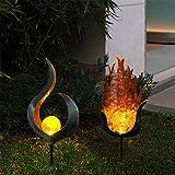 Solar Moon Crackle Ball Pfahl Licht, Garten Im Freien Mond Glaskugel Pfahl Metall Lichter, Weg...