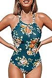 CUPSHE Teal Blumen Fächerförmig Badeanzug, Mehrfarbig, L