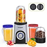 Homgeek Mixer Smoothie Maker, Mini Standmixer(350 Watt, 1x 500ml, 2x 400ml und 1x 200ml Mix-Becher,...