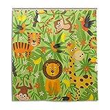 BKEOY Duschvorhang Cartoon-Dschungeltiere, wasserdicht, schimmelfest, waschbar, Polyester, 167 x 182...