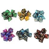 Moncolis 6 x 7 (42 Stück) Polyedrische Würfel Set mit Säckchen Doppel-Farben Polyedrischer...