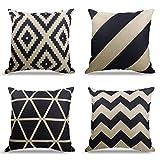 4er Set Dekorativ Kissenbezug Geometrische Muster, Sofa Büro Dekor Kissenhülle aus Baumwoll und...