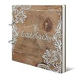 Hochzeit Gstebuch Holzcover - Rustikal - 215 x 215 mm 144 Seiten Innenseiten Naturpapier