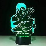 Nachttischlampe Bruce Lee Kungfu Beleuchtung Für Küchenunterschränke 3D Lampe Nachtlicht 3D Led...