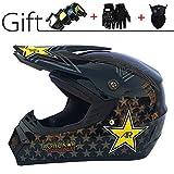 GZMUS Motocrosshelme Unisex Adult Off Road Helm Mit Schutzbrille Handschuhe Maske Fullface MTB Helm...