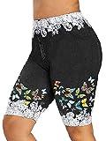 WAEKQIANG Denim Shorts Damen Spitze Patchwork Schmetterling Print Bodycon Shorts Elastische Skinny...