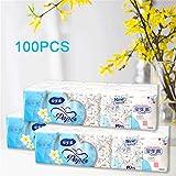 HHORD 100-Packung Taschentücher, Unscented 2-Ply Kosmetiktücher, Servietten Papierverpackung...