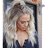 Vebonnie Synthetisch Blondes Haar Braun Wurzeln Lace Front Perücke 18 inch
