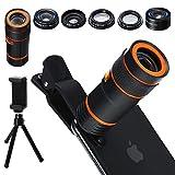 Distianert Handy Kamera Lens Kit, 6 in 1 Universal 12x Zoom Teleobjektiv+0,62x Weitwinkel&20x...