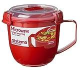 Sistema SI1141 Suppentasse 'Microwave' 900 ml, Kunststoff, rot, 13 x 13 x 12.5 cm