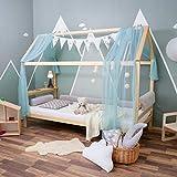 ALCUBE Hausbett 90 x 200 cm'Elia' aus Natur Holz - Kinderbett 200x90 mit seitlichen Rausfallschutz...
