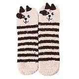 Momangel Damen Winter-Socken mit Cartoon-Tier-Motiv, Fleece, warm, Korallenvlies, 1#,...