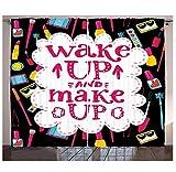 MUXIAND Zitat Kchenvorhnge Witty Saying Wake up Make-up mit kosmetischen Symbolen Lippenstift...
