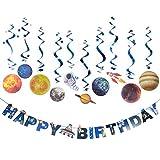 Sonnensystem hängende Dekoration Universum Weltraum Happy Birthday Banner Weltraum Wirbel zum...