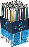 Schneider Kugelschreiber K15, Schreibfarbe blau, 50 Stück, Gehäusefarben rot, grün, weiß, blau,...