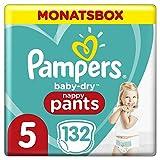 Pampers Baby-Dry Pants, Gr. 5, 12-17kg, Monatsbox (1 x 132 Höschenwindeln), Einfaches An- und...