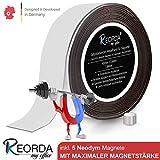 Reorda Selbstklebendes Metallband für Magnete - Ferroband mit 5 extra starken Neodym Magneten I...