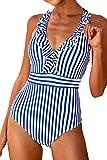 CUPSHE Streifen Und Blätter Badeanzug, M, Blau