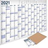 Yohmoe®-Papier: XXL Jahresplaner 2021 Wandkalender (100 x 70 cm) GEFALZT in Poster Größe....