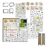 Box Bullet Journal + Briefmarken + Schablonen + Aufkleber + 20 Wimpel Kraft Etiketten