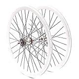 KHE Fixie Laufradsatz 700c Industriegelagert 40mm Hoch Dreifachkammerfelgen weiß mit Starr- und...