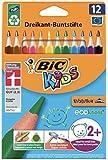BIC Kids Buntstifte ECOlutions Evolution, Ergonomische Dreikant-Malstifte zum Malen in 12 Farben, im...