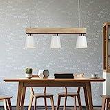 LED Pendelleuchte Esstisch Holz Hängeleuchte 3 Flammig Warmweiß Höhenverstellbar Esstischlampe...