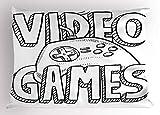 Lunarable Kinderzimmer-Kissenbezug, Doodle Stil Videospiele Typografie Design mit einem Controller...