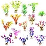 Huayue 15 Stück künstliche Wasserpflanzen, Mini Aquariumpflanze Fisch Tank Dekoration künstliche...