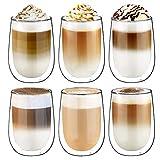 Glastal Doppelwandige Latte Macchiato Glaser Set Kaffeeglas Trinkgläser 6-teiliges 350ml (Volle...
