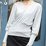 Für Sweater CMF Sexy V-Ausschnitt Laterne Hülsen-Normallack Pullover, Größe: XL (Gray) (Color :...