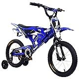 Kikier Motorrad Design Fahrrad für Kinder, Kinderfahrrad, Motorradform mit Schutzblech und V-Bremse