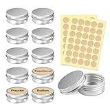 PAMIYO 24 Stücke Set Aluminium Leer Döschen (Mit 2 Stücke runde Aufkleber), 5ml Leere Dosen mit...